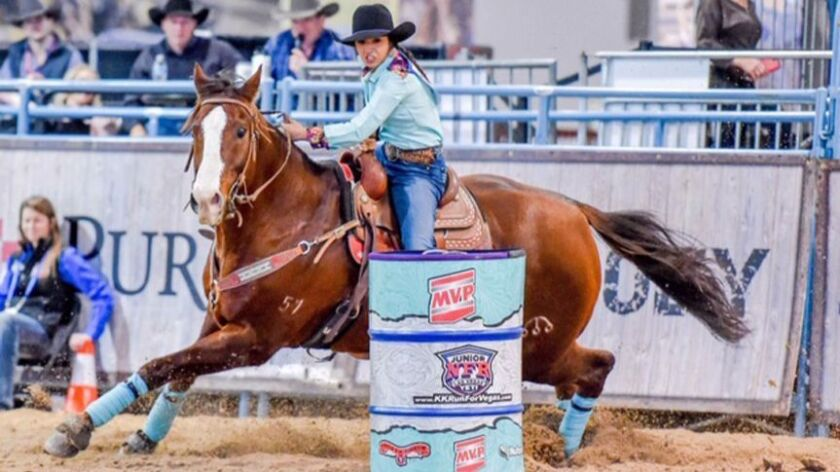 Escondido's Masyn Powers, who says barrel racing is her favorite, competed at the Junior National Finals Rodeo in Las Vegas.