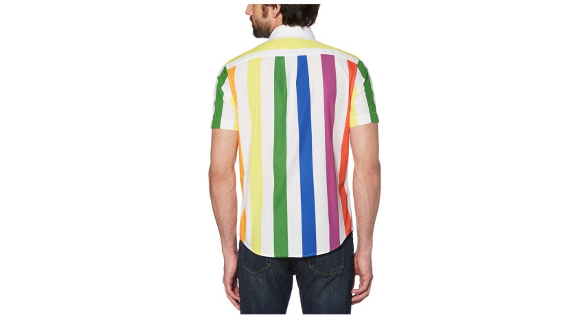 A collared short-sleeve shirt printed with thick rainbow stripes is from Original Penguin?s new Prid