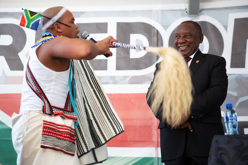 April 27, 2019. A praise singer (or imbongi) showers praise upon the President. South African Presid