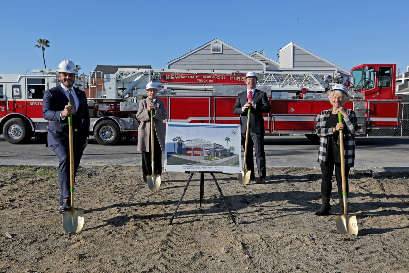Members of the Newport Beach City Council break ground at a new fire station in Newport Beach.