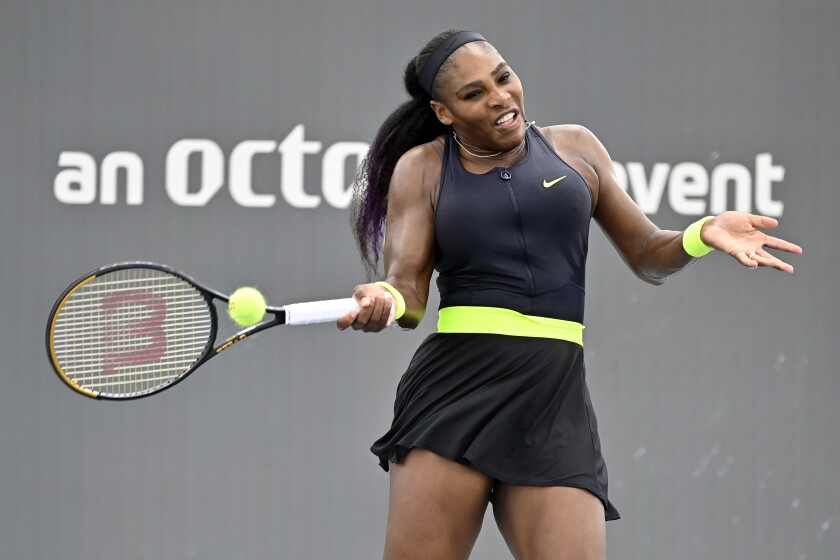 Serena Williams returns a shot during the Top Seed Open on Aug. 13 in Lexington, Ky.