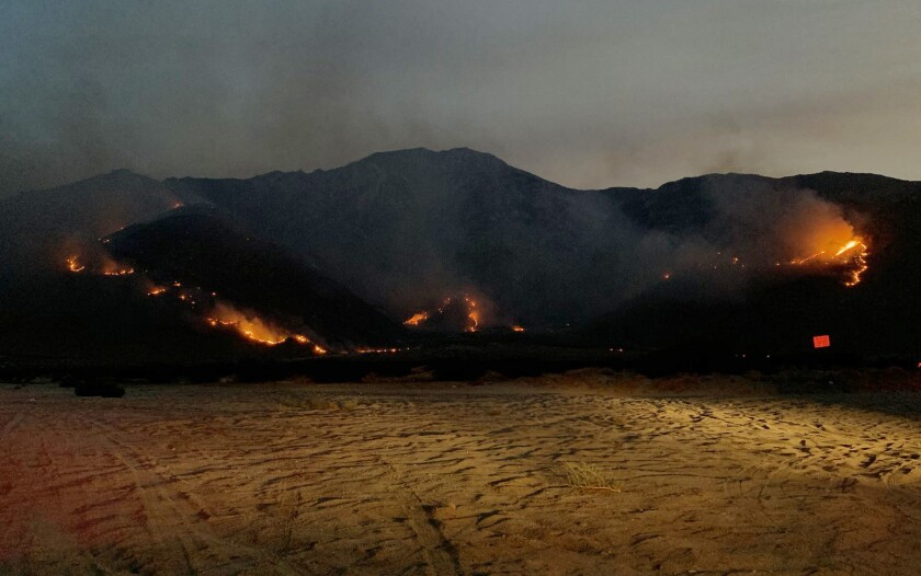 The Snow fire ignited west of Palm Springs on Thursday.