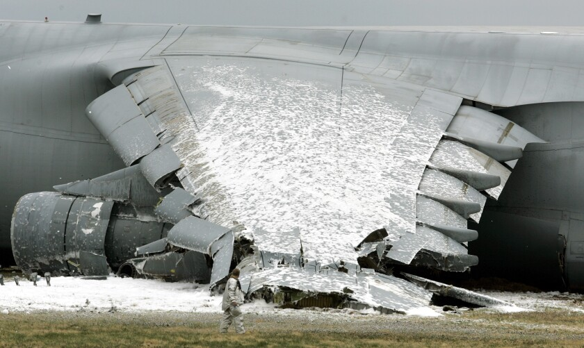 Foam used in plane crash