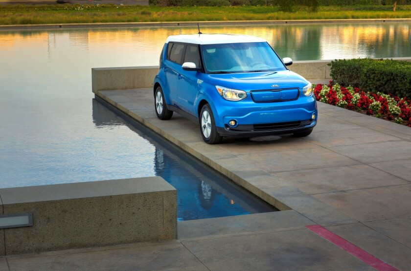 The all-new Kia Soul EV is the first electric car from the South Korean brand. It uses a 27-kWh lithium-ion battery for an estimated range of 80 to 100 miles.