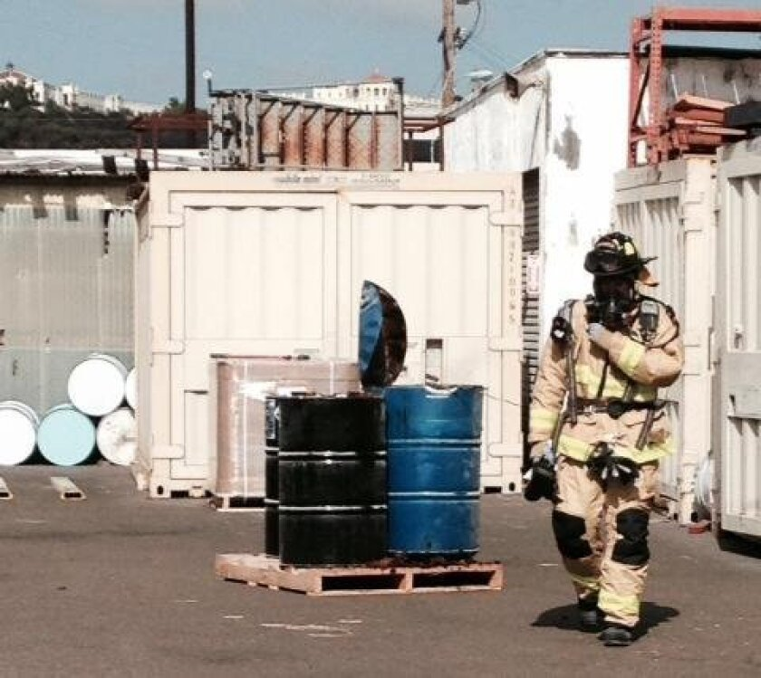 The San Diego Fire-Rescue Department investigated a 55-gallon drum of epoxy after it exploded Wednesday afternoon at Fiberlay Inc., a business in a Morena neighborhood.