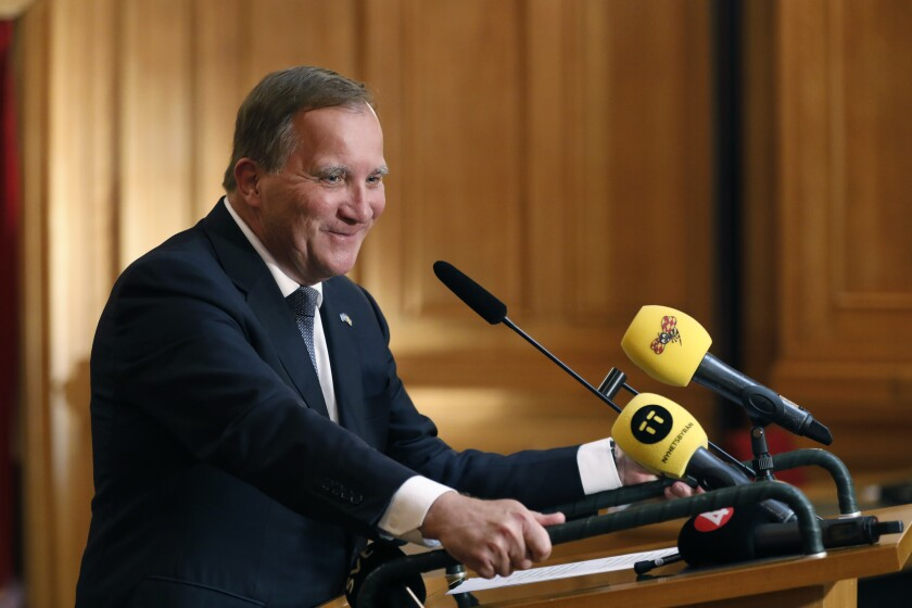 Social Democrat Leader Stefan Lofven after being voted Prime Minister in the Swedish Parliament in Stockholm, Wednesday, July 7, 2021. Lofven has won support from lawmakers to form new government after leading the country in a caretaking capacity since late last month. Lofven received 117 votes in the 349-seat Riksdagen on Wednesday in favor of giving him the mandate, with 58 abstentions. (Christine Olsson/TT News Agency via AP)