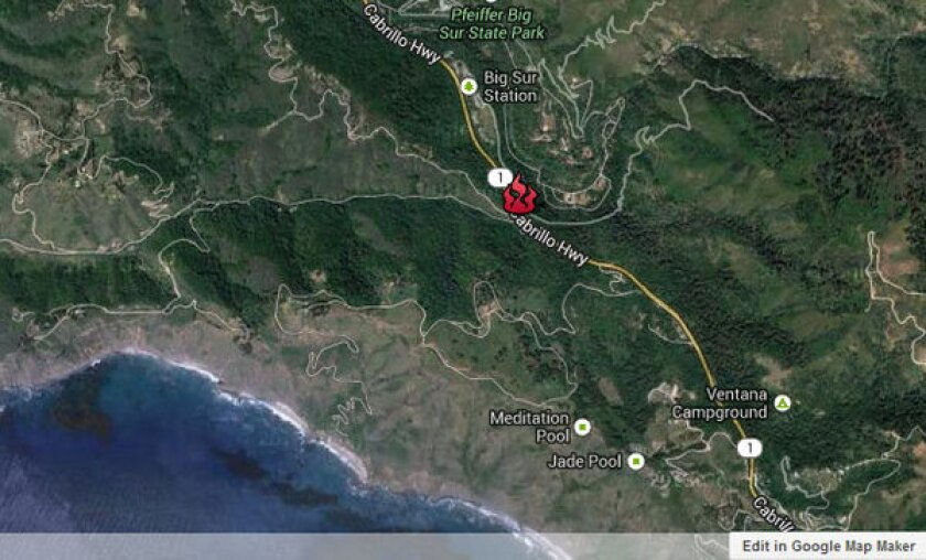 Approximate location, shown in red, where the Pfeiffer fire is burning in Monterey County.