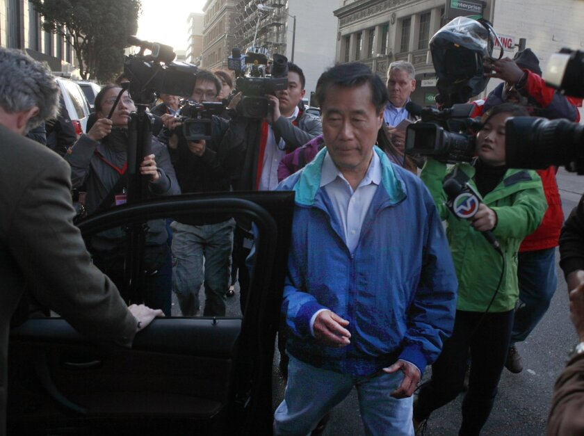 State Sen. Leland Yee (D-San Francisco) leaves Federal Court in San Francisco on Wednesday after his arrest.