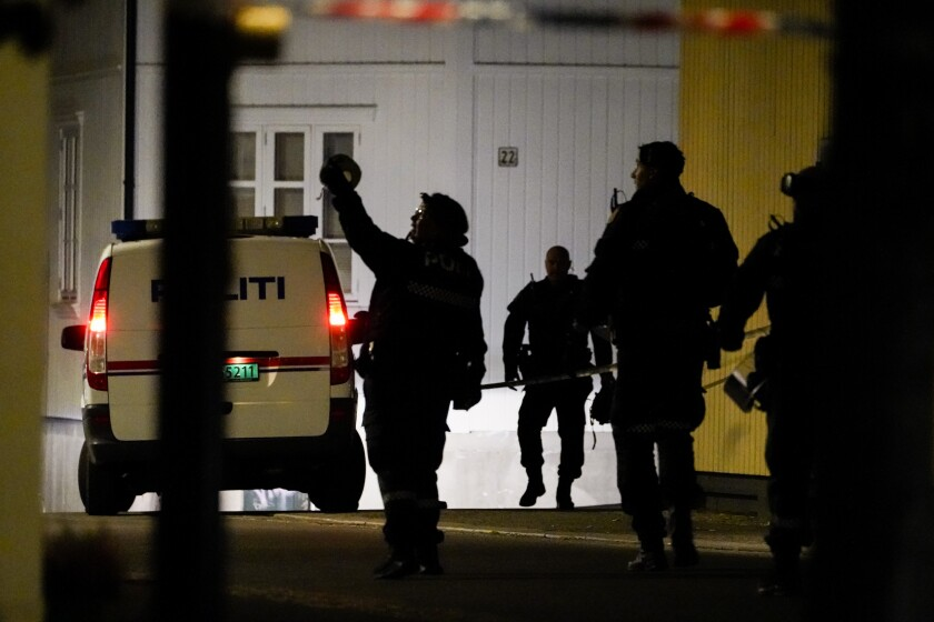 Police officers arrive at a scene
