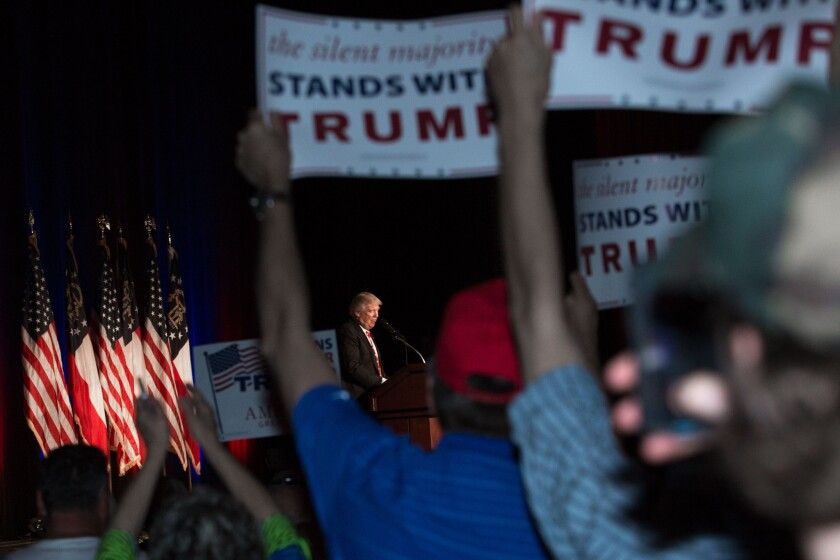 Donald Trump rallies supporters in Atlanta on Wednesday.