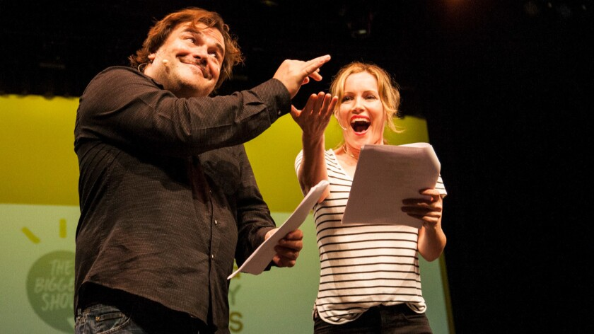 "Jack Black and Leslie Mann onstage at last year's ""The Biggest Show."""
