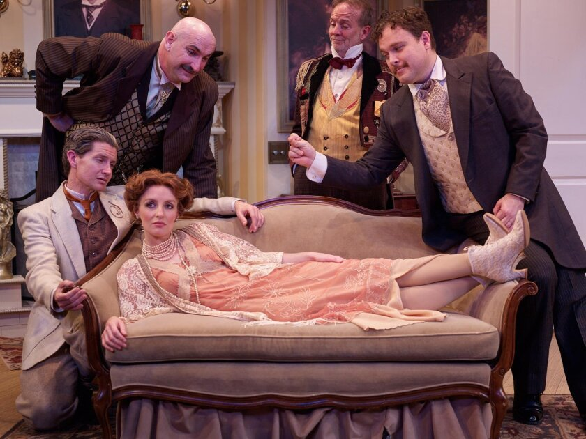 Five characters (Allison Minick, David McBean, Kern McFadden, Ruff Yeager and John Greenleaf) have to find out who is honest and who is not in Georges Feydeau's 'Now You See It,' through March 27 at the North Coast Repertory Theatre.
