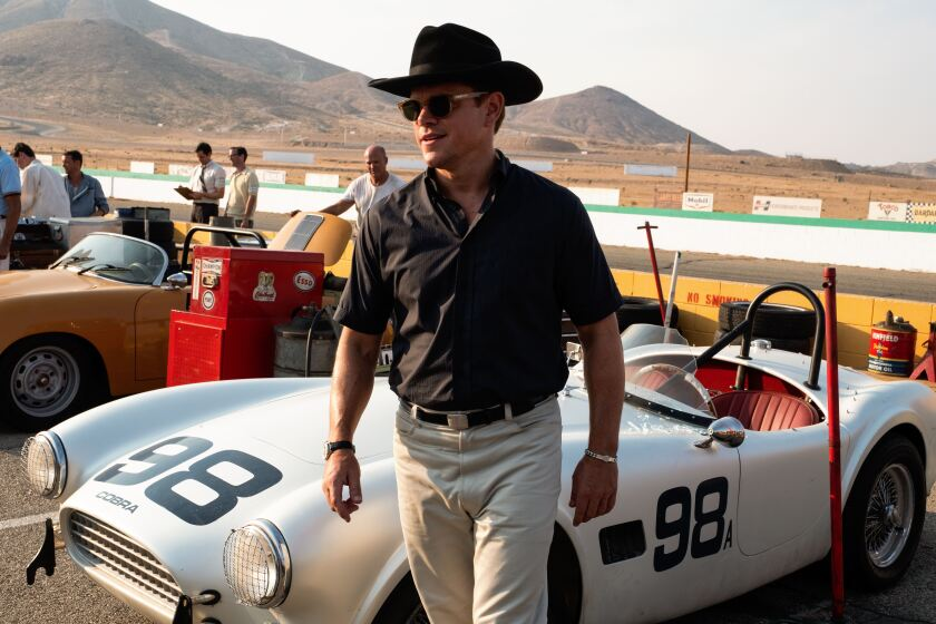 "Matt Damon as Carroll Shelby in ""Ford v Ferrari."""