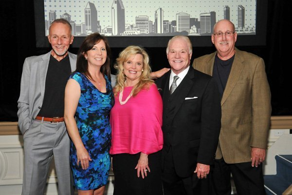 Sam Bass (emcee; cancer survivor), Kristen Thompson (ACS Sr. Director of Community Engagement), Jenny and Bill Griffiths (he's honoree and cancer survivor), Larry Goodman (auctioneer; cancer survivor)