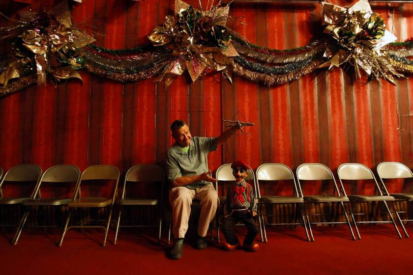 Bob Baker, 88, with puppet Don Tortilla, needs donations, an investor or a puppet-friendly buyer to help keep the beloved Bob Baker Marionette Theater in business.