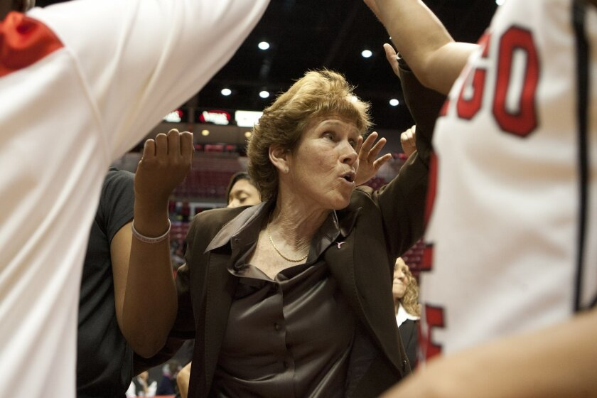 Aztecs's coach Beth Burns celebrates with her team their win over Santa Barbara breaking a team record with 27 wins in a season.