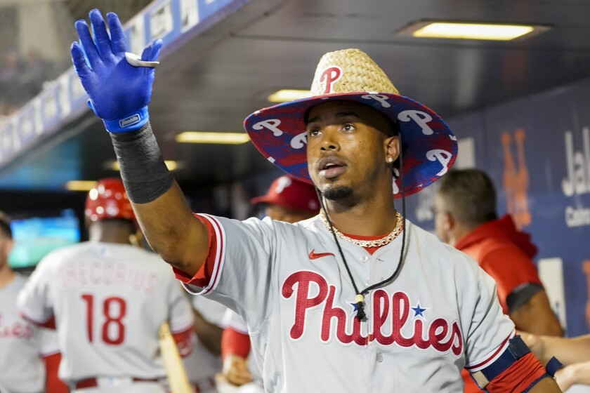 Philadelphia Phillies' Jean Segura after hitting a solo home run during the first inning of a baseball game against the New York Mets, Saturday, Sept. 18, 2021, in New York. (AP Photo/Mary Altaffer)