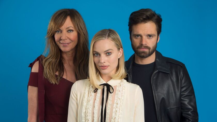 """HOLLYWOOD, CA., DECEMBER 5, 2017-- The cast of """"I,Tonya"""", the film about Tonya Harding, stars (L-R)A"""