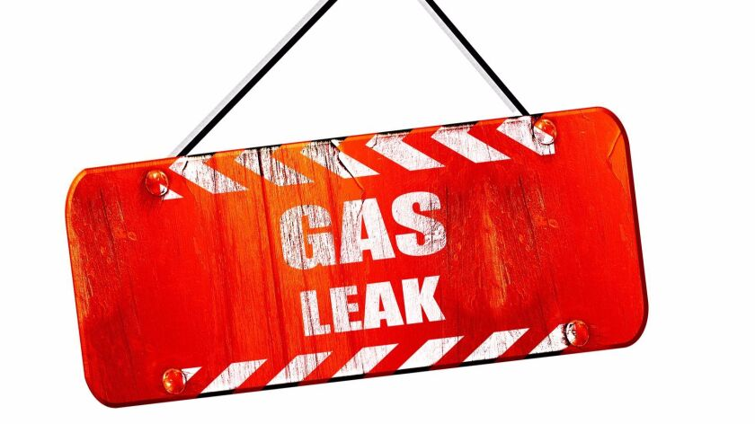 Gas leak , 3D rendering, vintage old red sign