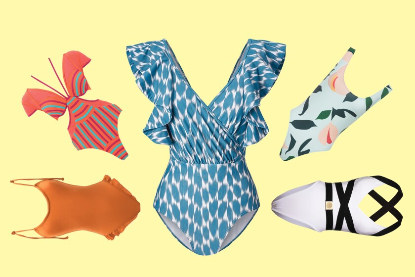 A photo illustration of bathing suits.