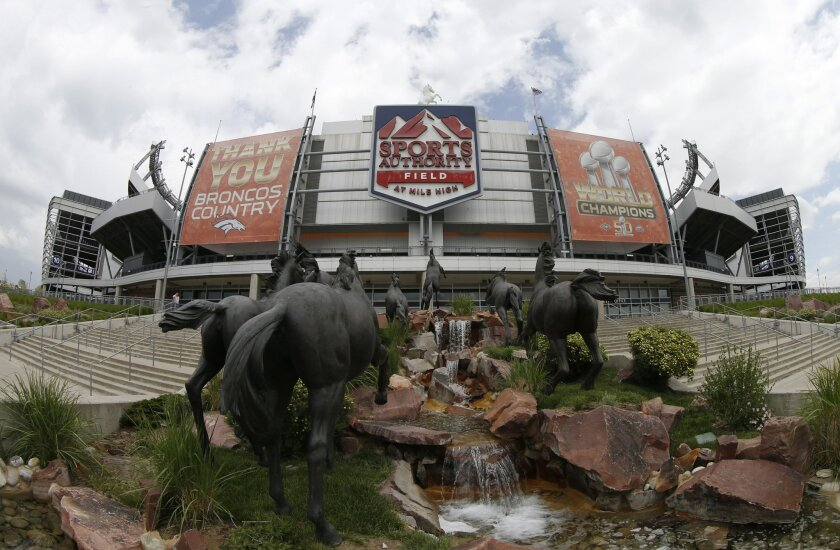 In this Thursday, May 26, 2016, photograph taken with a fisheye lens, the sign for Sports Authority Field at Mile High is shown on the south end of the stadium that is the home of the NFL football Denver Broncos in Denver. With the demise of retailer Sports Authority, which holds the naming rights