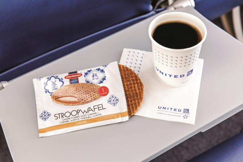 The stroopwafel is one of the free snacks to be offered starting in February on United Airlines.