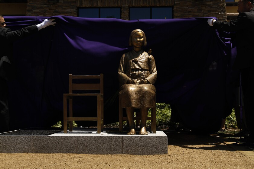 The Glendale memorial to 'comfort women' and other WWII victims at its unveiling in 2013.
