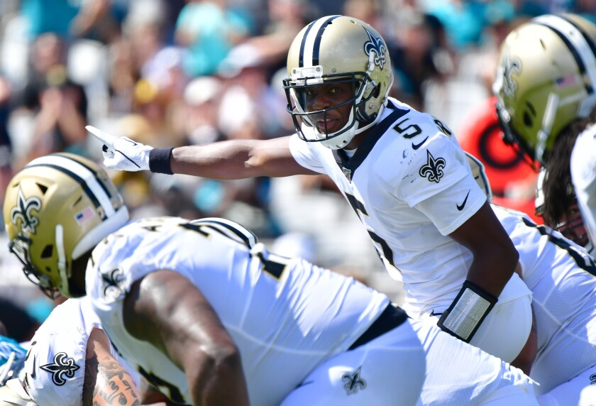 Saints quarterback Teddy Bridgewater signals to his teammates during Sunday's win over the Jaguars.