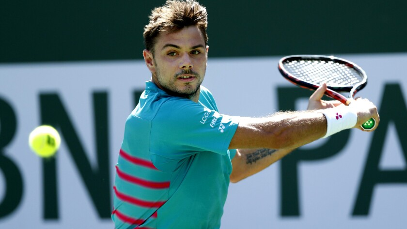 Stan Wawrinka prepares to hit a backhand return during his match against Pablo Carreño Busta on Saturday at the BNP Paribas Open.