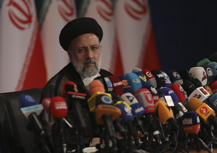 Iranian President-elect Ebrahim Raisi speaking at a news conference