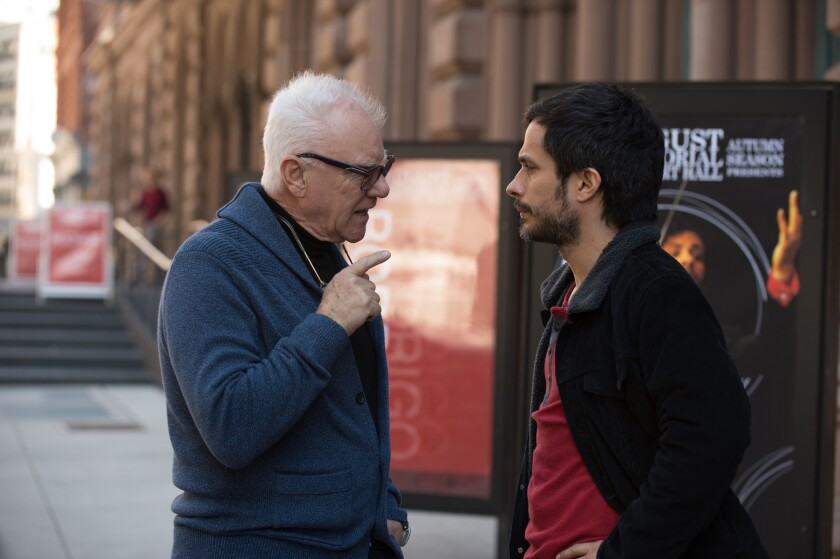 """Malcolm McDowell and Gael Garcia Bernal in a scene from """"Mozart in the Jungle."""""""