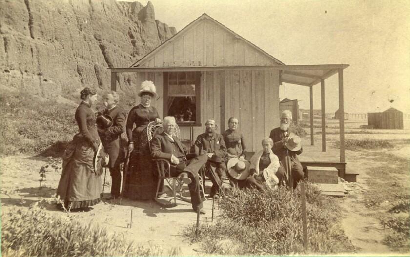 Visitors to Santa Monica Beach in the 1880s.
