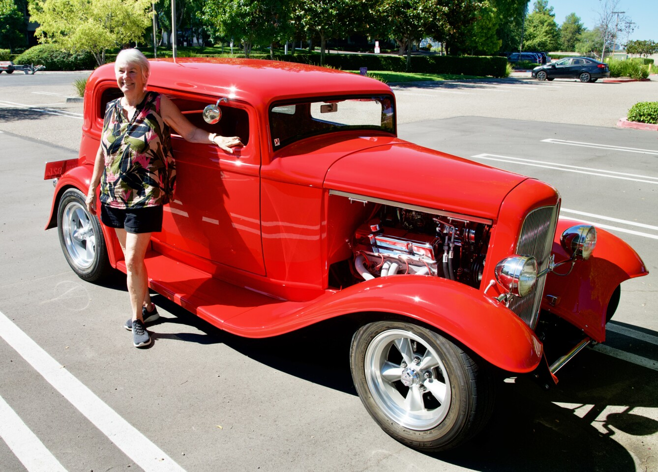 Francie Clark with her 1932 Ford Victoria.