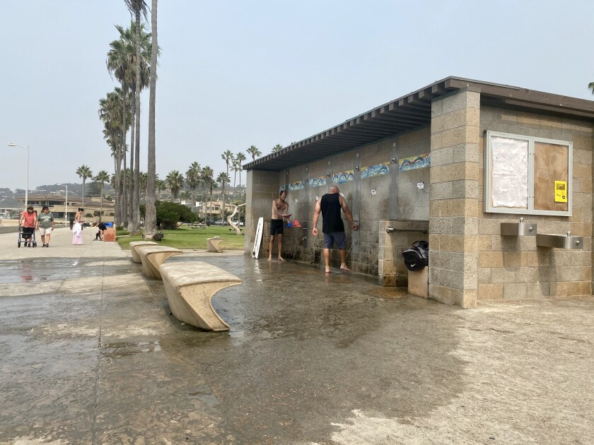 The north comfort station at Kellogg Park in La Jolla Shores needs repairs to its shower drain.