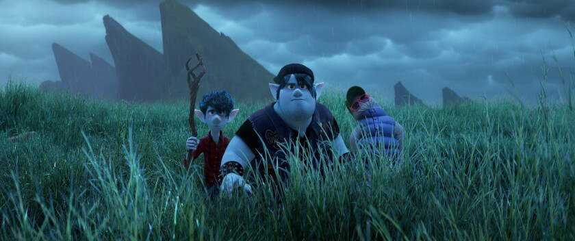 """From left, elf brothers Ian and Barley Lightfoot with their half-reanimated dad in """"Onward."""""""