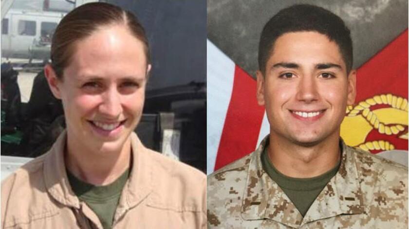 Marine Major Elizabeth Kealey and Capt. Adam Saterfield were killed Jan. 23 in a helicopter crash at Twentynine Palms.