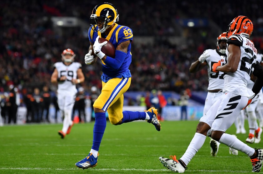 Rams receiver Josh Reynolds crosses the goal line on a 31-yard scoring pass play against the Bengals during the second quarter Sunday.