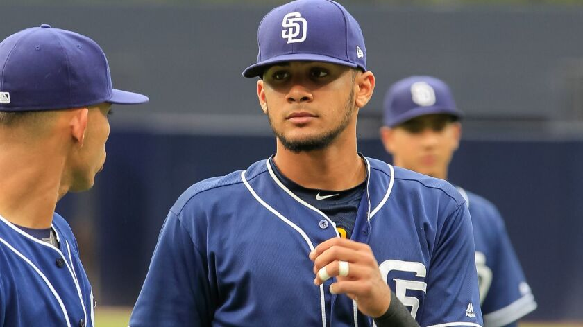 Padres shortstop prospect FernandoTatis Jr. before their game against Texas Rangers minor leaguers on Saturday, Sept. 30, 2017, at Petco Park.