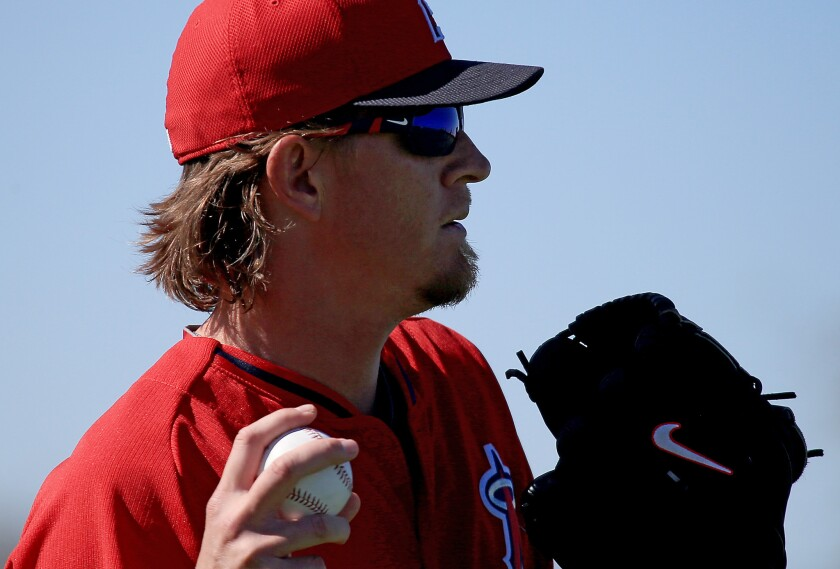 Angels pitcher Jered Weaver works out during spring training in Tempe, Ariz., on March 4.