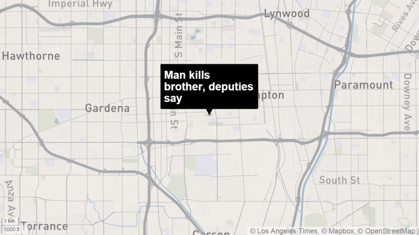 A map shows the approximate location where authorities say a 44-year-old man shot and killed his brother during a dispute in Compton.