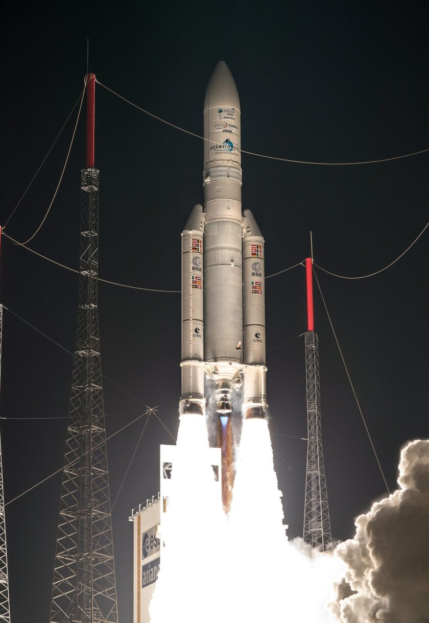 An Arianespace rocket in August launches two Intelsat satellites from a space center in French Guyana.
