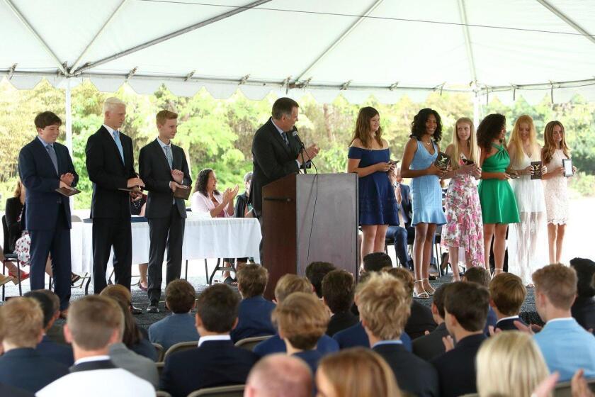 Garrett Corduan addressed the graduates at this year's eighth grade graduation.