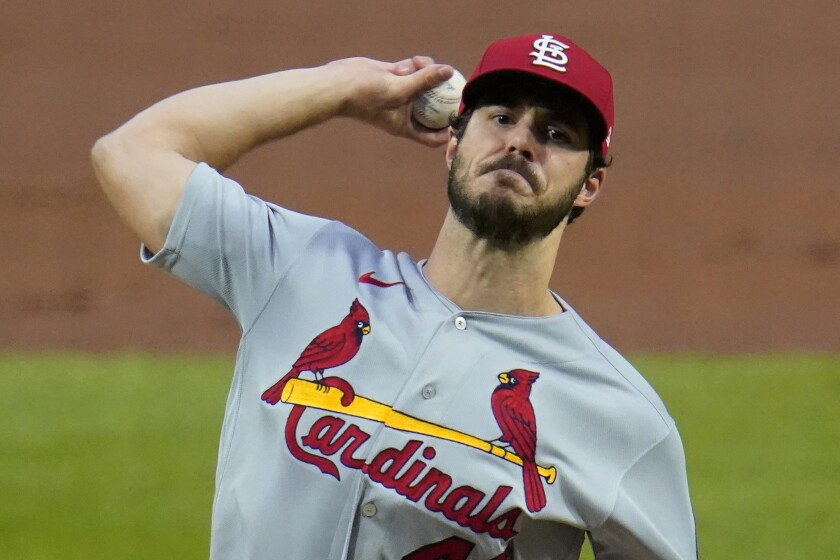 St. Louis Cardinals starting pitcher Dakota Hudson delivers during the first inning of the team's baseball game against the Pittsburgh Pirates in Pittsburgh, Thursday, Sept. 17, 2020. (AP Photo/Gene J. Puskar)