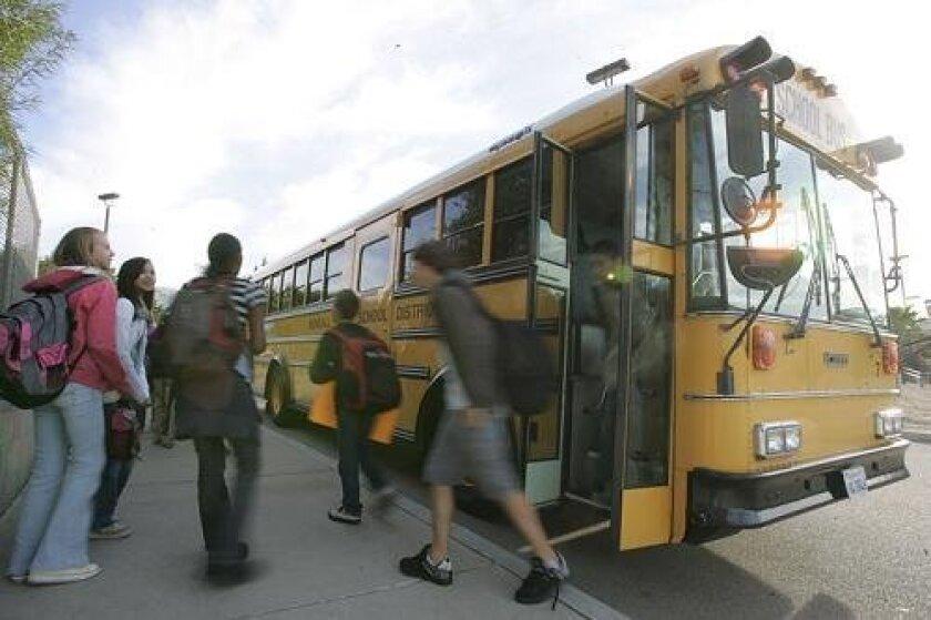 School bus service at Sullivan Middle School in Bonsall.