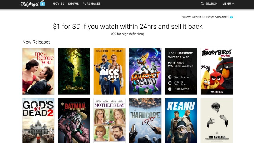 Screenshot of VidAngel, which three major studios have accused of ripping and streaming movies without a license.