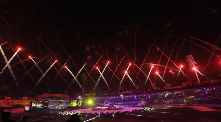 Vista general de la ceremonia de apertura del Mundial de hockey masculino 2018 en Bhubaneswar (India), ayer. EFE
