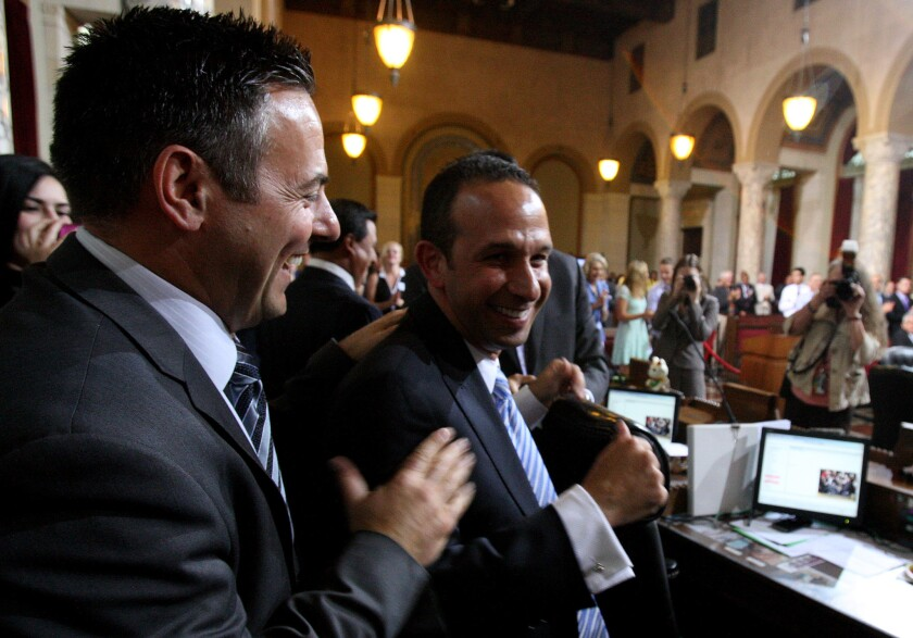 Los Angeles City Councilman Mitchell Englander on the council floor last year, with Councilman Joe Buscaino.