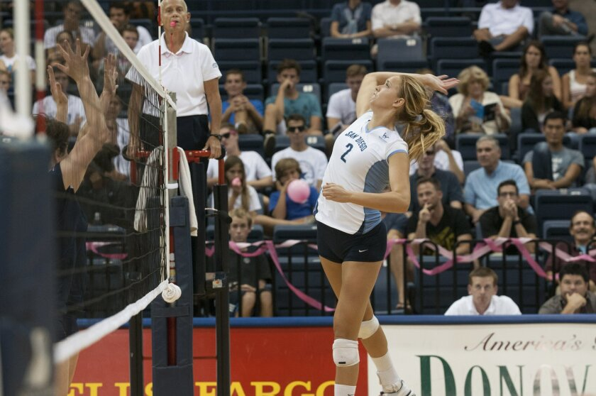 USD senior middle hitter Chloe Ferrari is among the leaders on a Toreros team that has already risen to No. 9 in the country this year.