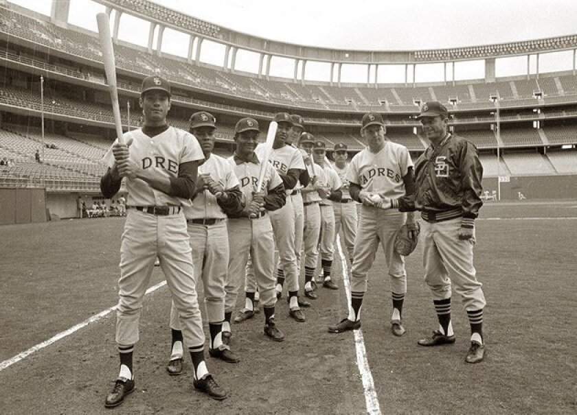Opening Day lineup for the Padres' first game in 1969 (from left): Rafael Robles,  Roberto Pena, Tony Gonzalez, Ollie Brown, Bill Davis, Larry Stahl, Ed Spiezio, Chris  Cannizzaro, Dick Selma and manager Preston Gomez. (Union-Tribune file photo)