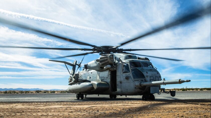 In this December 2017 photo, Marines arrive in a CH-53E Super Stallion.